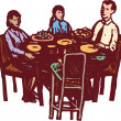 Family Dinner at Dinner Table — Vecteur #29558625
