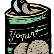 Woodcut illustration of Frozen Yogurt — Stok Vektör