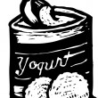 Vettoriale Stock : Woodcut illustration of Frozen Yogurt