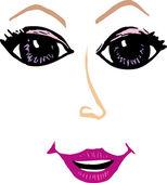 Pretty Woman Face — Stock Vector