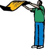 Ilustración de xilografía de hombre sacudiendo la alfombra — Vector de stock