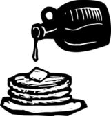 Woodcut Illustration of Stack of Pancakes with Syrup and Butter — Stock Vector