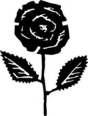 Woodcut Illustration of Rose Flower — Stock Vector