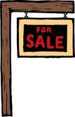 Träsnitt illustration av för försäljning tecken — Stockvektor