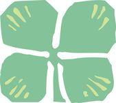 Woodcut Illustration Icon of Four Leaf Clover — Stock Vector