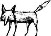 Woodcut illustration of Fox — Stock Vector