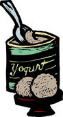 Woodcut illustration of Frozen Yogurt — Stock Vector