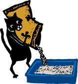 Woodcut Illustration of Cat Filling Cat Litter Box — Stock Vector