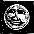 Woodcut Illustration of Full Moon Face — Stock Vector