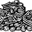 Woodcut Illustration of Pile of Money — Stockvector #29560399