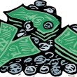 Woodcut Illustration of Pile of Money — Stock Vector #29560405