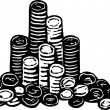 Woodcut Illustration of Pile of Poker or Casino Chips — Stock Vector