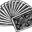Woodcut Illustration of Fanned Deck of Playing Cards — Stock Vector