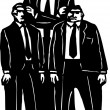 Woodcut Illustration of Organized Crime Goons — Imagen vectorial