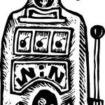 Woodcut Illustration of Slot Machine — Stock Vector