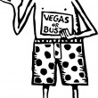 Woodcut Illustration of Man in Underwear Hitchhiking to Las Vegas — Stock Vector