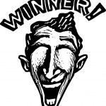 Woodcut Illustration of Winner Man — Stock Vector
