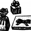 Woodcut Illustration of Wrapped Gifts or Presents — Stockvectorbeeld