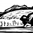 ストックベクタ: Woodcut Illustration of Glacier