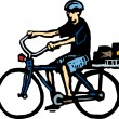 Woodcut Illustration of Man Riding Bike — Imagen vectorial