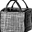 Woodcut Illustration of Reusable Grocery Bag — Imagens vectoriais em stock
