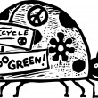 Woodcut Illustration of Lady Bug with Environmental Bumper Stickers — Imagens vectoriais em stock
