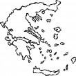 Woodcut Illustration of Map of Greece — Stock Vector