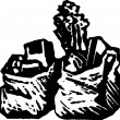 Vector de stock : Woodcut Illustration of Grocery Bags