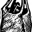 Woodcut Illustration of Bag of Groceries — Stockvektor