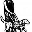 Woodcut Illustration of Sight Disabled Man with Guide or Service Dog — Stock Vector