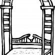 Woodcut illustration of Arbor Bench — Imagen vectorial