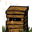 Woodcut Illustration of Beehive — Image vectorielle