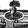 Woodcut Illustration of Formal Garden — Imagen vectorial