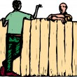 Woodcut Illustration of Men Neighbors Talking Over Fence — Stock Vector #29563867