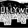 Woodcut Illustration of Hollywoodland Sign — Stock Vector