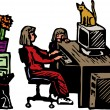 Vector illustration of woman working from home — Stockvectorbeeld