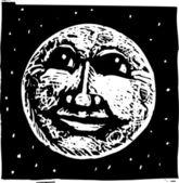 Illustrazione di xilografia del volto della luna piena — Vettoriale Stock