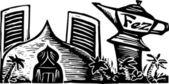 Träsnitt illustration av casino — Stockvektor