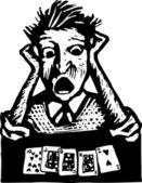 Träsnitt illustration av man med pokerhanden floppade — Stockvektor