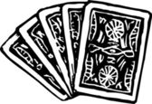 Woodcut Illustration of Five Playing Cards Face Down — Stock Vector