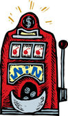 Woodcut Illustration of Slot Machine — Stockvektor