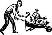 Woodcut Illustration of Man with Wheelbarrow Full of Money — Stock Vector