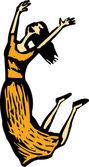 Woodcut Illustration of Jumping Happy Woman Celebrating — Stock Vector