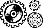 Woodcut Illustration of Gears — Stock Vector