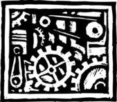 Woodcut Illustration of Gears — Stock Vector