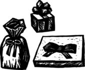 Woodcut Illustration of Wrapped Gifts or Presents — Stock Vector
