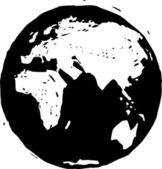 Black and white vector illustration of Earth globe — Stock Vector