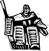 Woodcut Illustration of Hockey Goalie — ストックベクタ