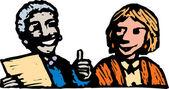 Woodcut Illustration of Woman Boss Congratulating Woman Employee — Stock Vector