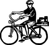 Woodcut Illustration of Man Riding Bike — Stock Vector